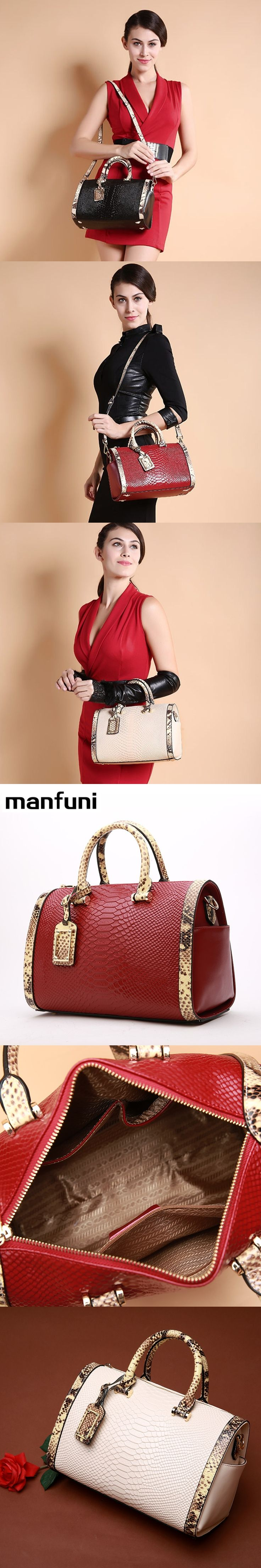 MANFUNI Top Fashion Handbags For women Serpentine genuine Leather Crossbody bags Ladies Famous Brands Snakeskin Boston Bag 0497