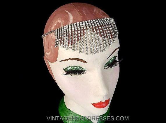 Art Deco Chain Drape Forehead Band Headpiece, Vintage Great Gatsby Forehead Band, 1920's Flapper Hairband, Bridal Wedding Headpiece