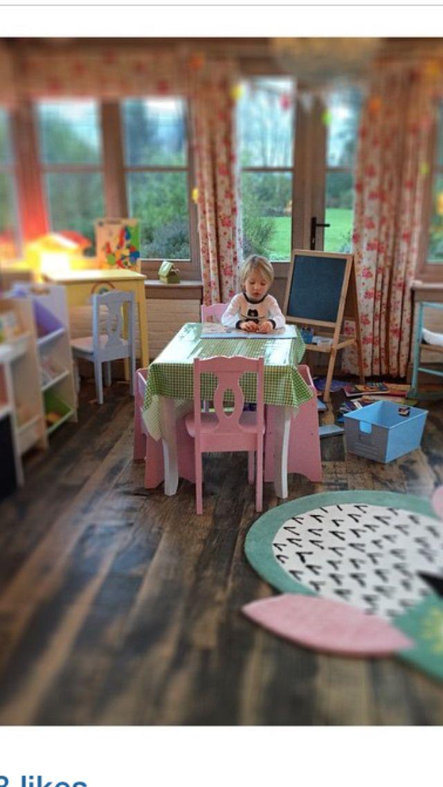 Jools Oliver Playroom - love the floor stain
