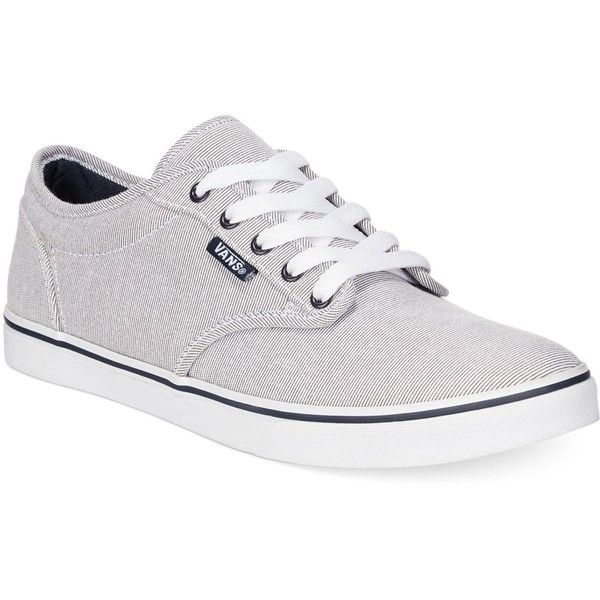 Vans Women's Atwood Low Lace-Up Sneakers ($45) ❤ liked on Polyvore featuring shoes, sneakers, grey nautical, lace up sneakers, plimsoll sneaker, gray shoes, skate sneakers and lacing sneakers