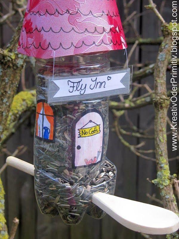 Vogelhaus Haustier Plastik Flasche Recacling Upcycling Futter