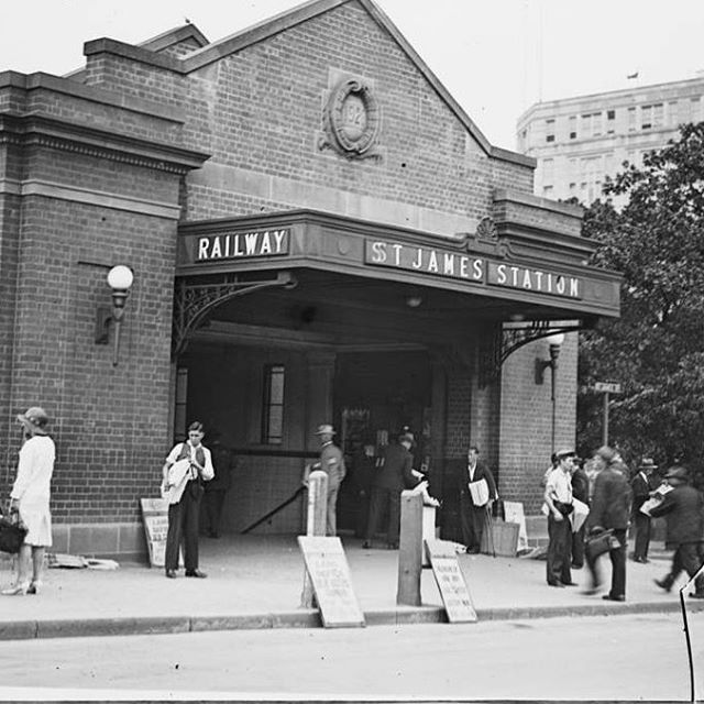 #ThrowbackThursday: Entrance to the St James railway station on Elizabeth St, January 22, 1932. Photo from the Fairfax Archives. #tbt #igerssydney