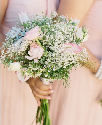 bridesmaids boquets, with less baby's breath and more white carnations