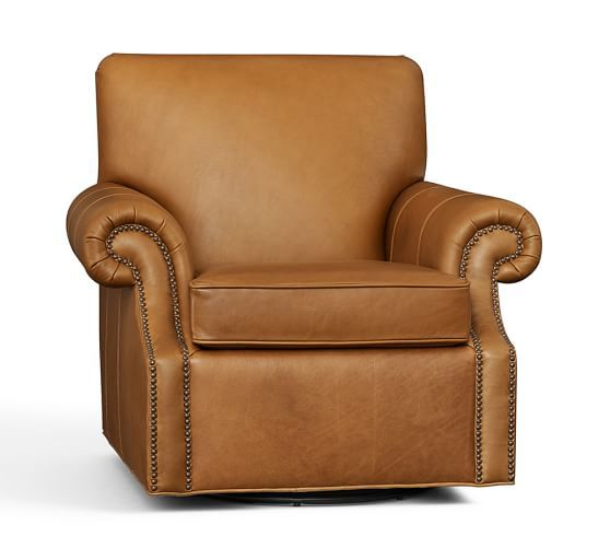 Brooklyn Leather Swivel Armchair Toffee, Polyester Wrapped Cushions