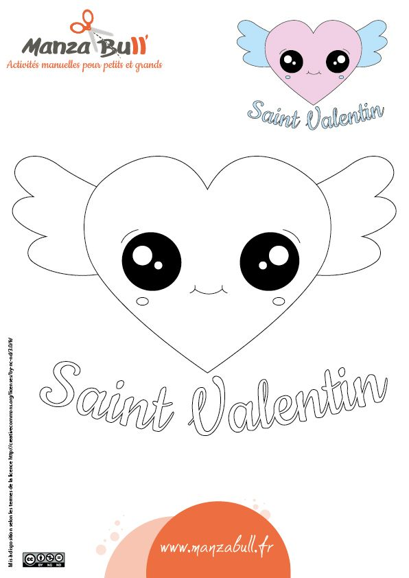 Coloriage Saint Valentin Kawaii Saintvalentin Valentin Coeur