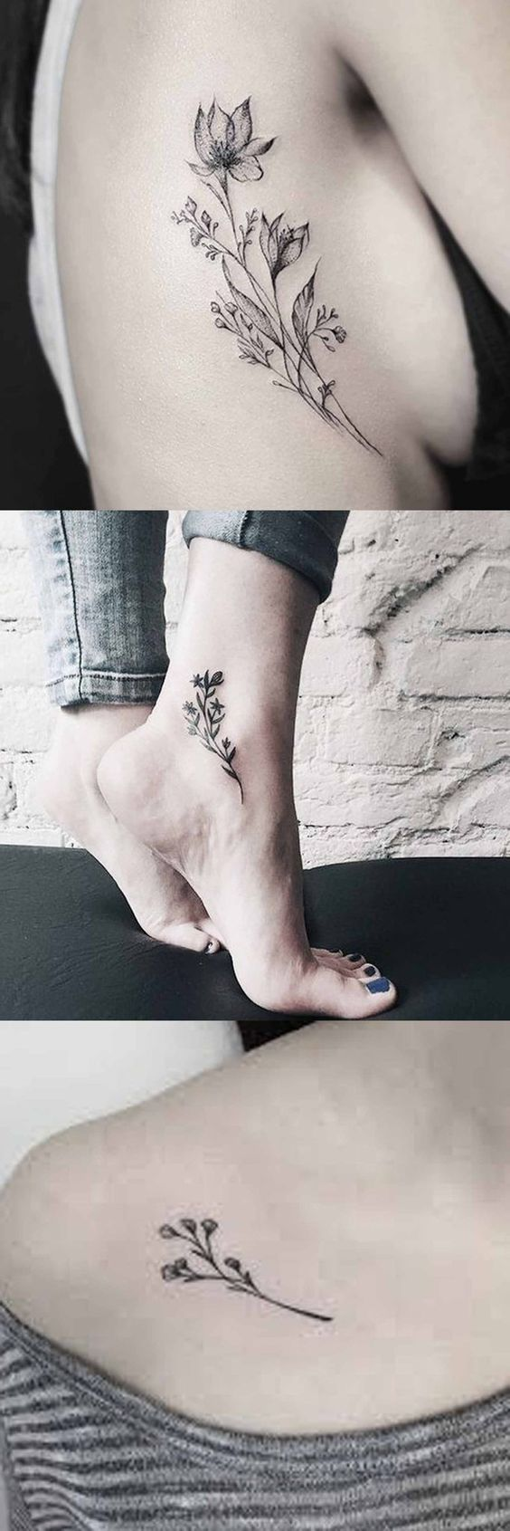 Vintage Wild Rose Tattoo Ideas for Women - Flower Ankle Foot Tatt - Traditional Black and White Floral Shoulder Tat at MyBodiArt.com
