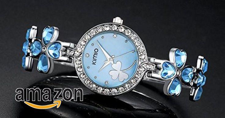 Prezzo promozionale:EUR 21,80 - Ostan Donna Gioielli Cuore Cristalli Fiore Forma Rotondo Quadrante con Cubic Zirconia Braccialetto Orologi da Polso