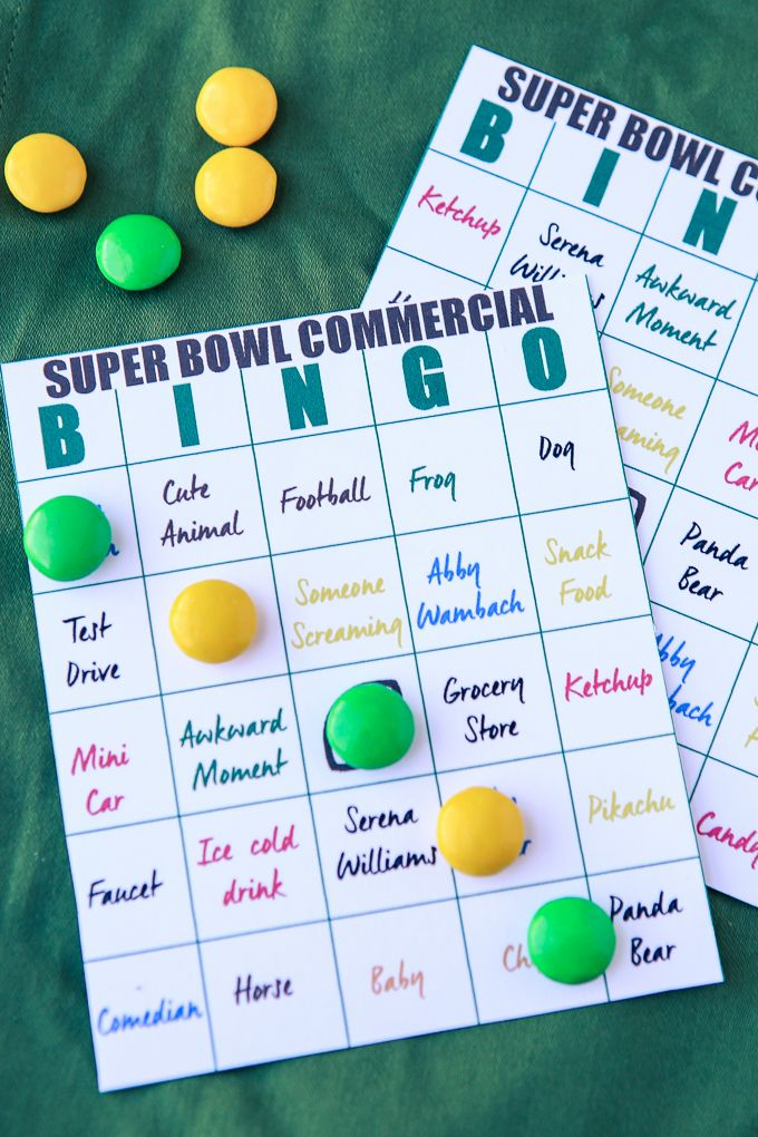 Play 2016 Super Bowl Commercial Bingo at your big Super Bowl party this year with these free printable bingo cards!