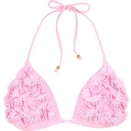 Pink 3D embellished bikini top - bikinis - swimwear / beachwear - women
