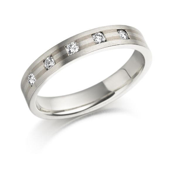 18ct white gold 5 stone diamond ring d 015 pts grade vs g - Engagement Vs Wedding Ring