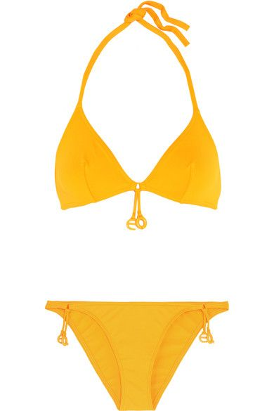 Eres' bikini is cut from the label's signature peau douce fabric to support and sculpt your silhouette. Part of the 'Grigri' collection, it's designed in a bright marigold shade and decorated with playful duck and E-shaped charms. Wear it with a straw hat on sun-drenched days.