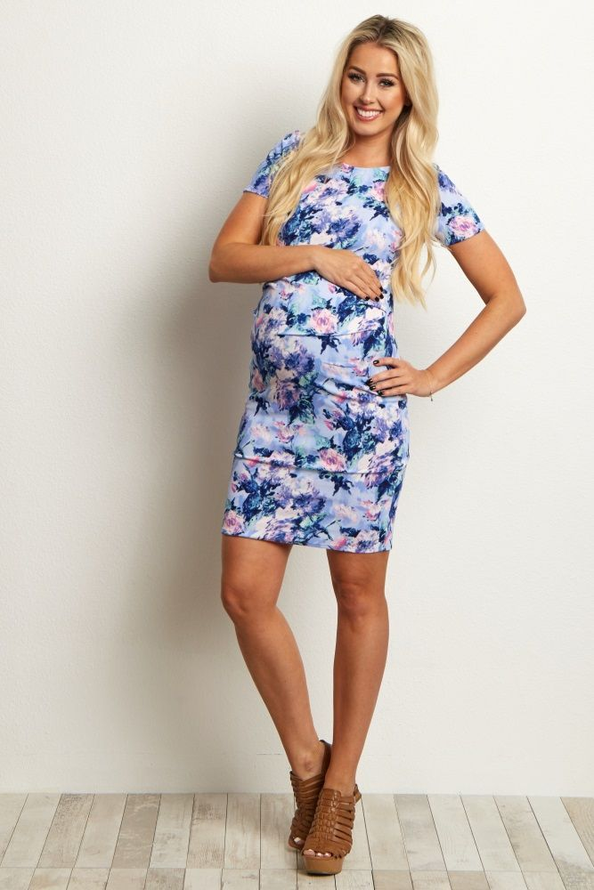 Blue-Floral-Fitted-Maternity-Dress
