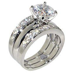 3.47 Ct. Round Cubic Zirconia Cz Solitaire Bridal Engagement Wedding 3 Piece Ring Set... This sparkling beauty showcases sparkling cubic zirconia simulated diamond gemstones. It features very thick genuine platinum and rhodium plating over brass and is anti-tarnished for durability. This set bursts with sparkle. #FineJewelry, #Zirconia