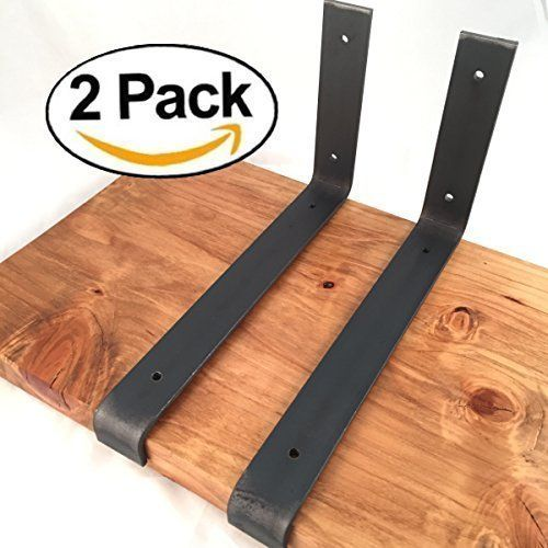 """2 Pack - 11.25""""L x 6""""H Lip Brackets, Handcrafted Forged Rustic Reclaimed Salvaged Metal Steel Shelf Wall Brackets hook."""