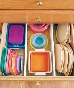 """File"" plastic containers and their tops in orderly zones within the same drawer to keep them readily locatable."