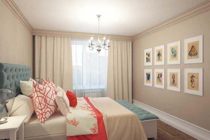Недорогой дизайн спальни с покрашенными в бежевый цвет стенами
