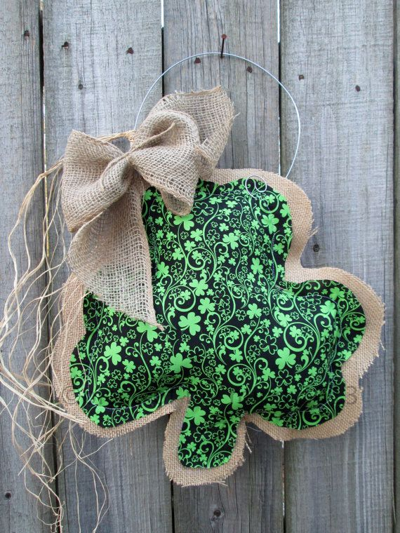 St Patricks Day Burlap Door Hanger Shamrock Mixed by nursejeanneg