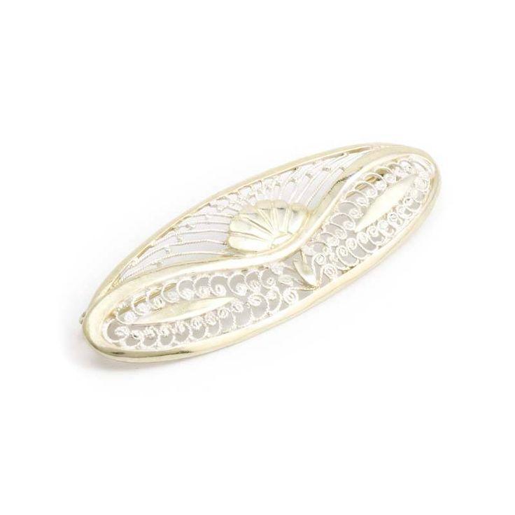 Aurora Patina Verfijnde zilveren broche in Jugendstil stijl met filigrein en gedeeltelijke vergulding