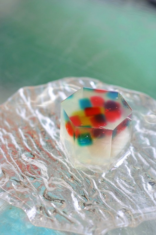 "Japanese Sweets ""wagashi"",  錦玉製   真夏の夜の夢(七夕)- July sweets ; A Midsummer Night's Dream Ball made of brocade (Tanabata)"