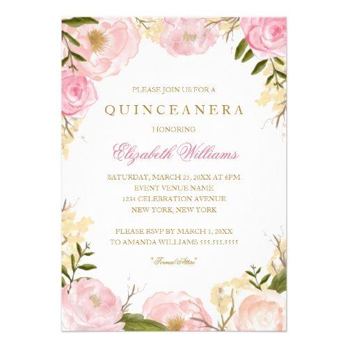 Quinceanera Invitations Elegant Pink Rose Quinceanera Invitation
