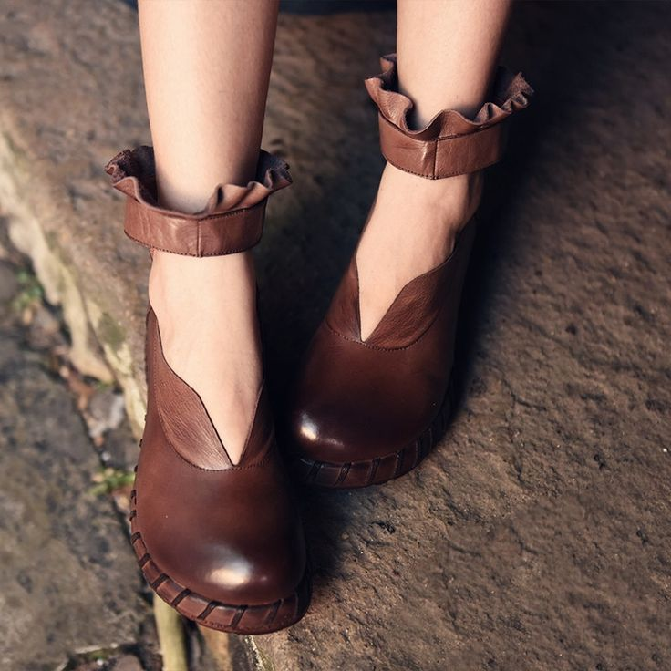 97.99$  Watch now - http://ali30g.worldwells.pw/go.php?t=32773254389 - Original New Autumn Thick Bottom Slope Complex Female Genuine Leather Shoes Waterproof  Literature Women Shoes 6698-61