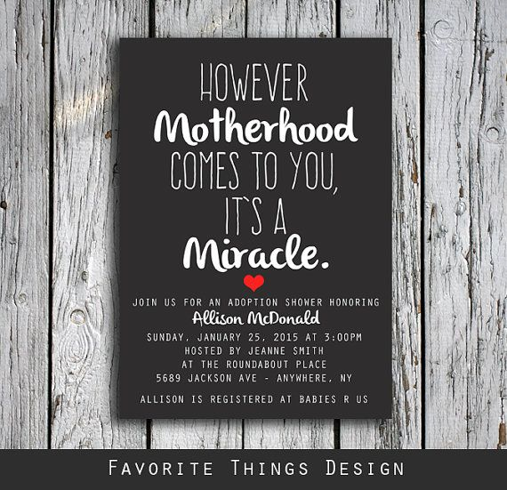 Adoption Shower Invitation  However by FavoriteThingsDesign  Use coupon code PIN20OFF for 20 % off your order!