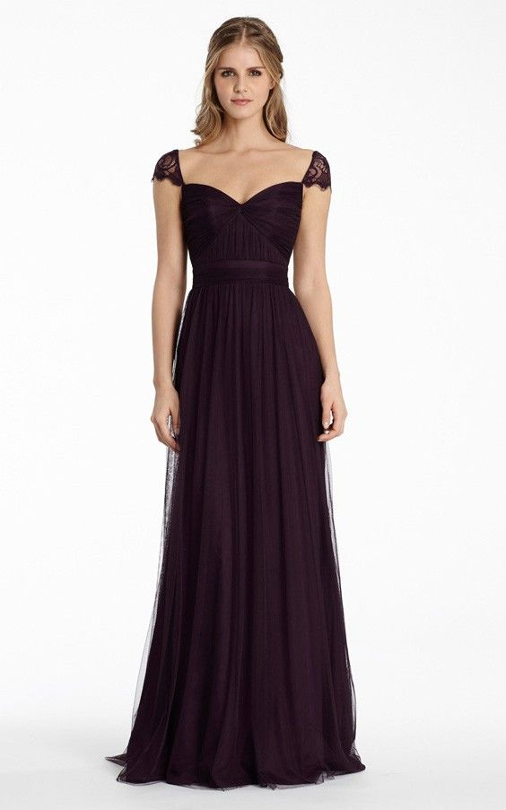 Tulle Cap Sleeves A-line Floor-length Natural Bridesmaid Dresses