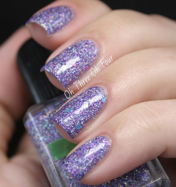 + contains various diamond, square, shredded and star holographic glitters set in a base of small silver and purple holographic glitters. All nails are 3 coats with top coat.