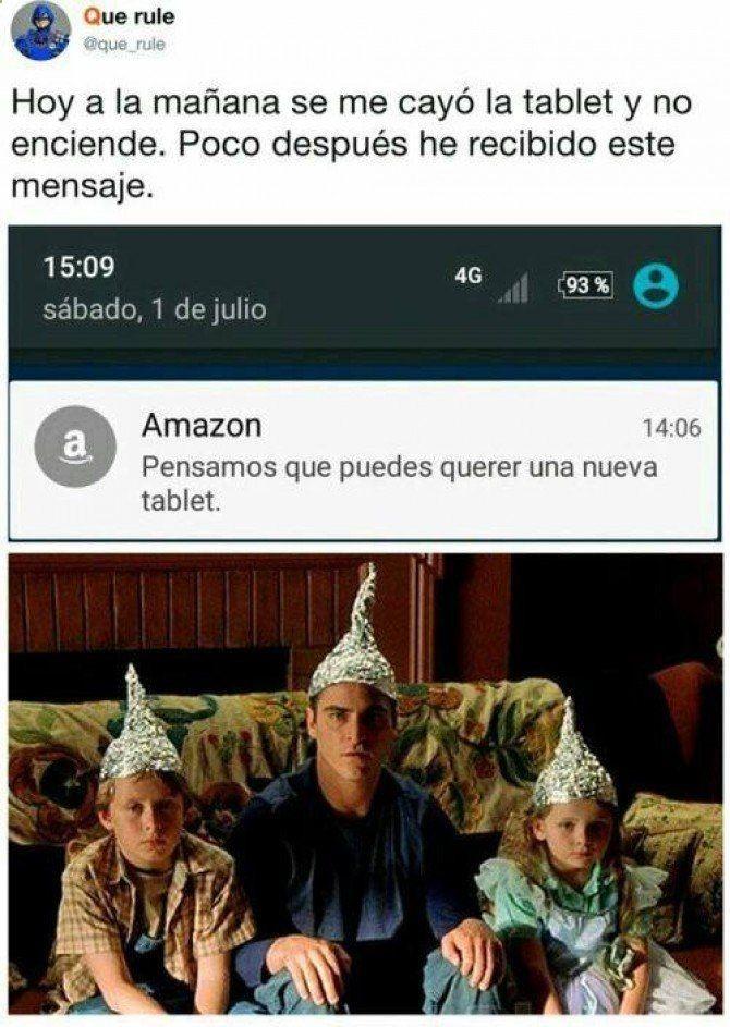 Amazon Nos Espia Y Esta Es Una Prueba Para Mas Imagenes Graciosas Y Memes En Espanol Descarga A App Www Huevadas Net App O Visi Memes New Memes Pinterest Memes
