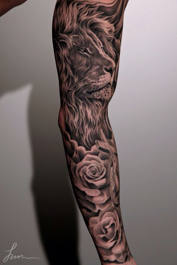 3D Leo Lion With Roses Tattoo Design For Full Arm By Jun Cha Lion Paw ...