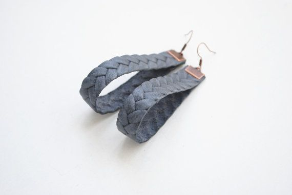 Grey earrings sisal leather earrings braided by elfinadesign