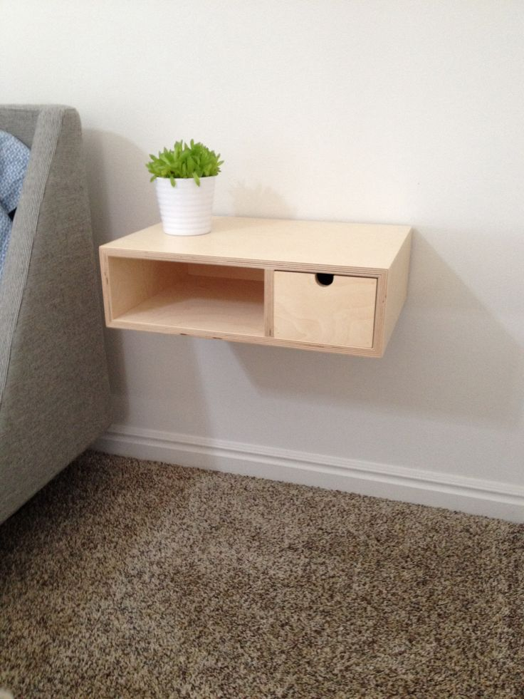 Modern plywood floating nightstand