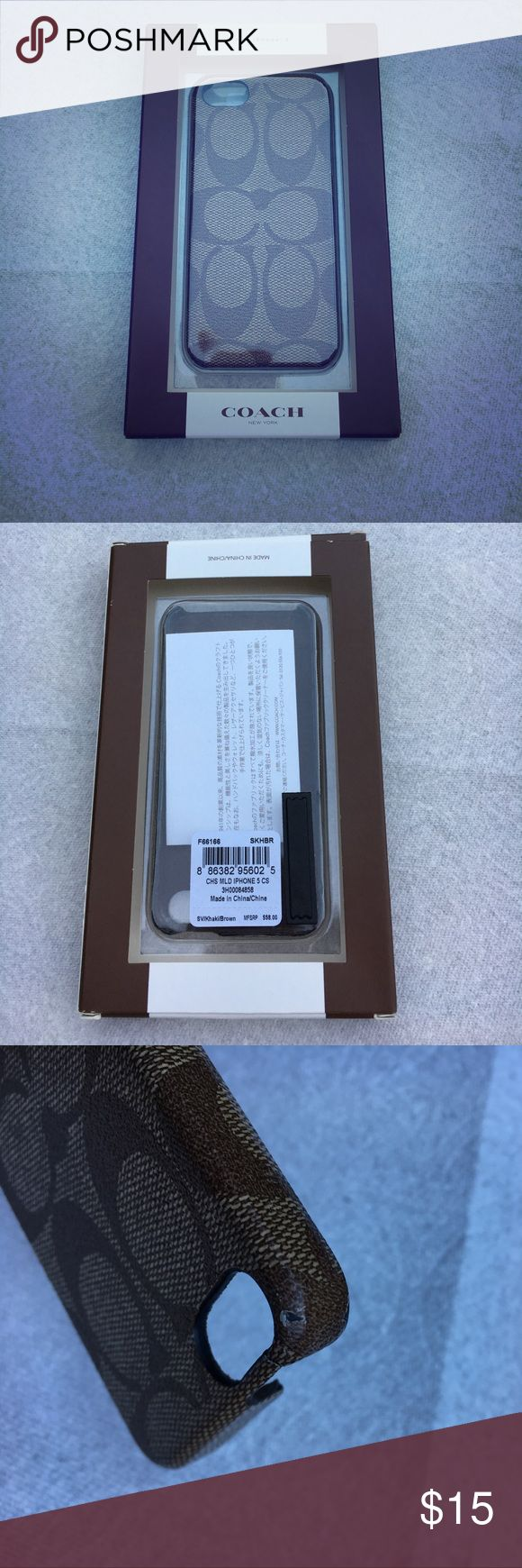 Iphone 5 Coach case khaki/brown. PRICE CUT iPhone case that's some kind of leather, khaki with brown C's. Has some use to it with a crack at the top but it holds very well. As it shows in the pictures there are a few scratches on it but it is priced accordingly. Coach Accessories Phone Cases