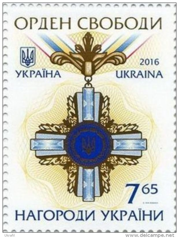 Ukraine, 24.8.2016. Ukrainian Awards - Order of Liberty. Value: 7,65 (G), Issued (1/1): 130.000 pcs. Price: 20,27 CZK.