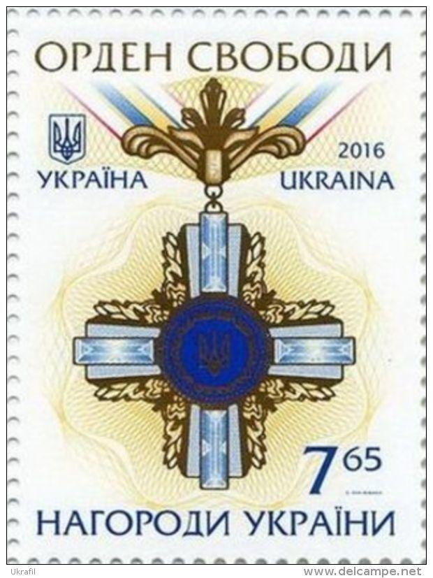 Ukraine, 24.8.2016. Ukrainian Awards - Order of Liberty. Value: 7,65 (G), Issued (1/1): 130.000 pcs. Price: 20,27 CZK.