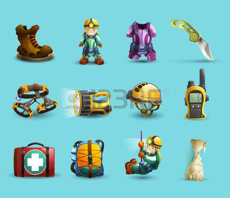 Digital cave exploration surveying with speleologist equipment and protective wear 3d icons set abstract vector isolated  illustration