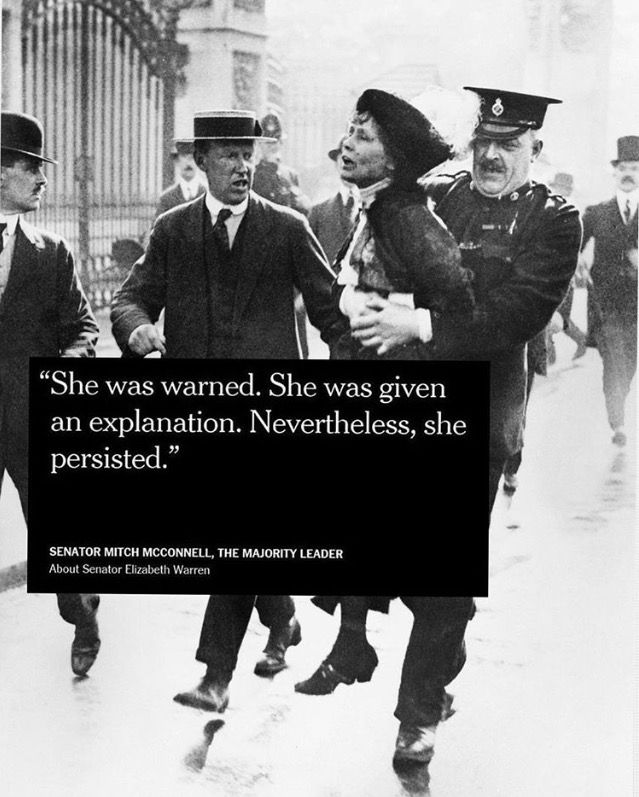 """""""She was warned. She was given an explanation. Nevertheless, She Persisted!"""""""