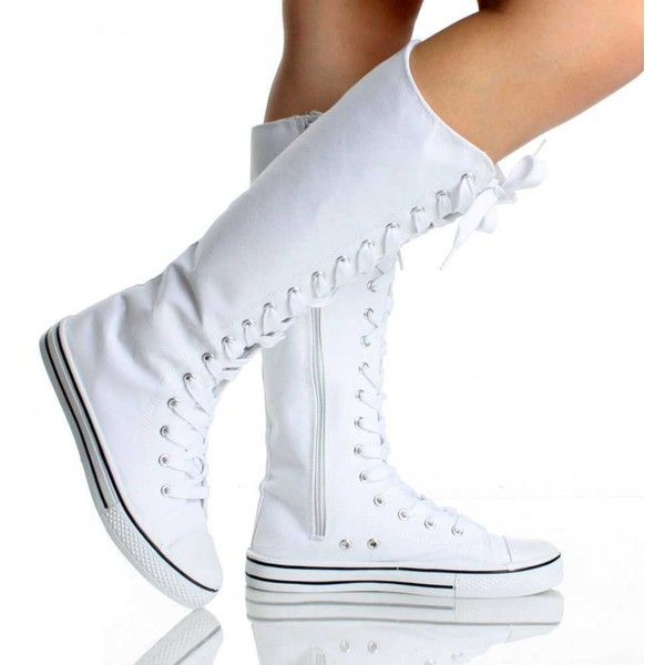 White Canvas Lace Up Skate Punk Designer Womens Mid Calf Boots ($14) ❤ liked on Polyvore featuring shoes, boots, converse, sneakers, mid-calf boots, lacing boots, canvas boots, low heel boots, front lace up boots and short heel boots
