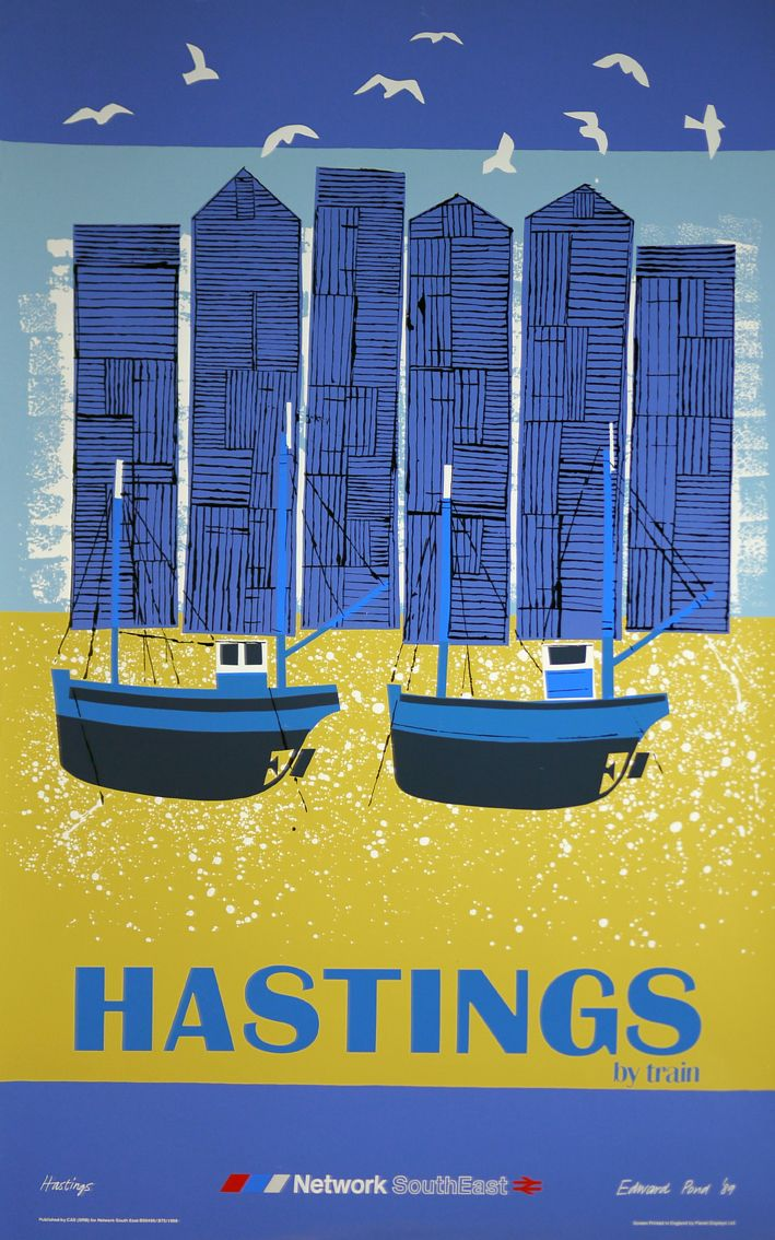"""Hastings By Train"" poster by Edward Pond for British Rail Travel Poster #beach #essenzadiriviera.com"