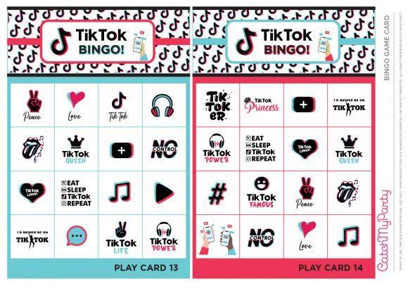 Download Our Free Printable Tiktok Bingo Game Cards Our Free Printable Tiktok Bingo Is The Perf In 2021 Birthday Party Printables Free Birthday Party Activities Bingo