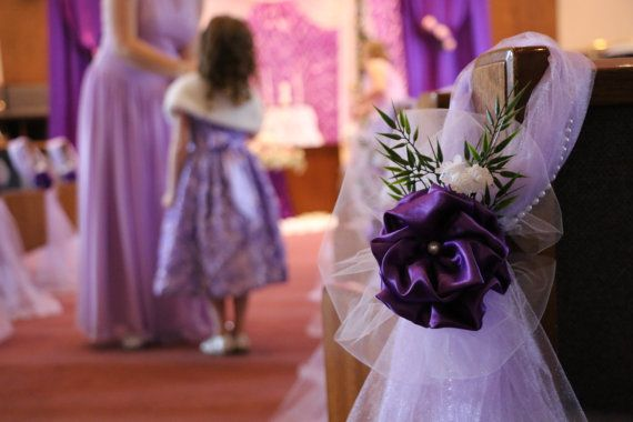 Set Of 6 Purple Pew Bows Satin Royal Purple Peony Elegant Wedding Bows Pew Church Aisle