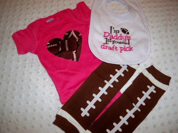 Baby Girl Football Onesie Leg Warmers and by grinsandgigglesbaby1, $28.00