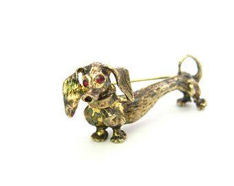 Teckel chien broche. Danecraft Sterling argent or Vermeil. 3D figuratives. Yeux de strass rouge. Weiner mignon chien teckel. Bijoux vintage des années 1970