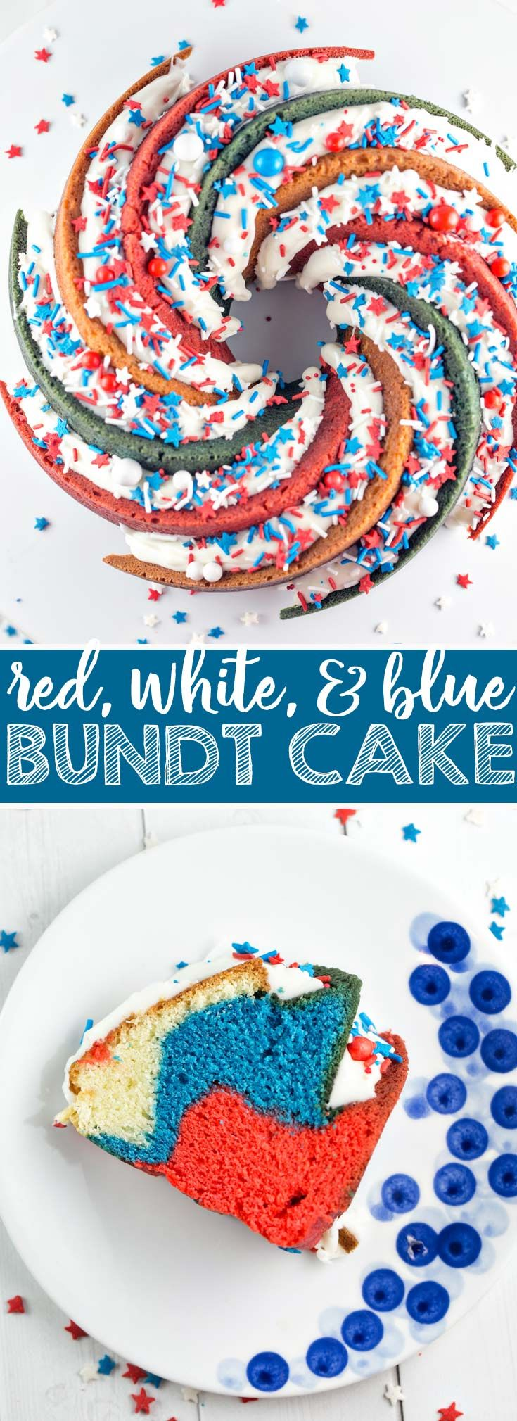 Red White and Blue Bundt Cake: This star-spangled…