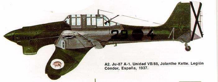 "Junkers ""Stuka"". » Ju-87 А-1.United VB/88, №:29-4/Legion Condor,Espana,1937."
