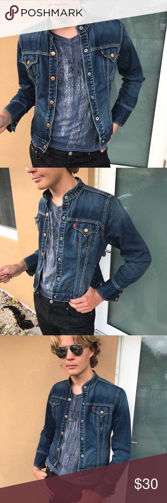 "Levi's Easy Rider Collarless Jean Jacket Medium Sm Label-Levi's  Style-""Easy Rider"" Jean Jacket, Fitted, Collarless and Snaps Closed. Side Snaps for Fitted hem.  Size-M Womens but Men S can wear it too. Shown on me as a Size 10 and on my Son who has outgrown it and is now a M. One size too small on him. Fits a women 6, 8 best, Men XS or Small Measurements-B-38 Hip-36 Shoulder to hem-24  Fabric-100% Cotton  Condition-Well Worn and Broken in. No Rips. Very Rock (With Jackson Browne Statute in…"