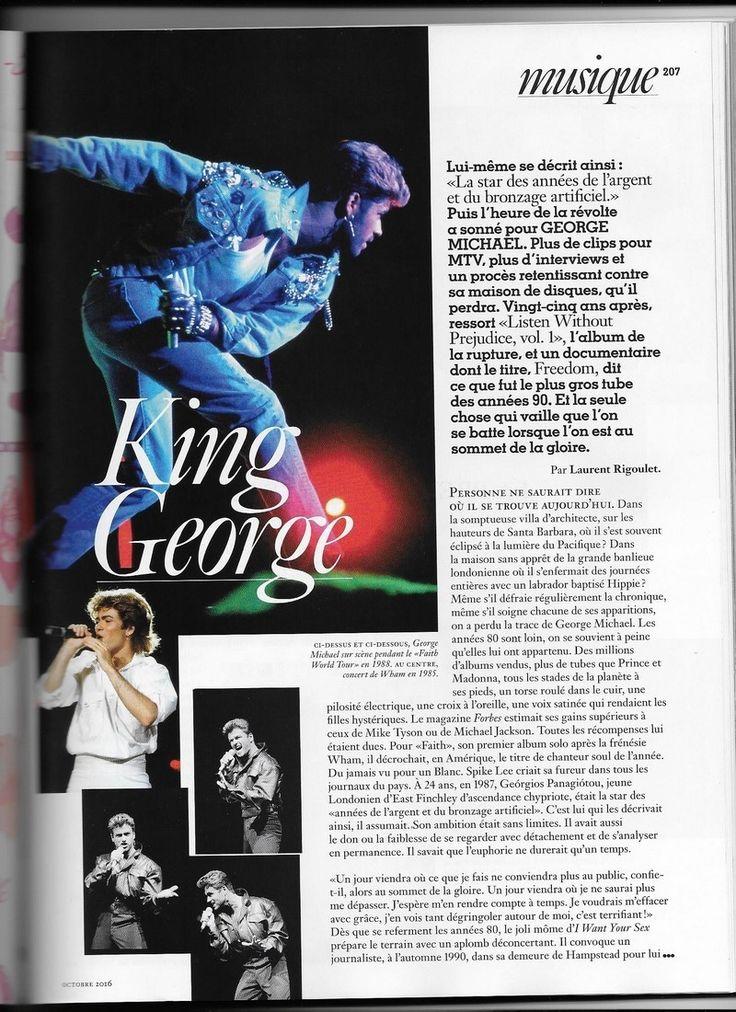 """Vogue France rend hommage à George Michael en lui consacrant 3 pages dans son magazine du mois d'octobre avec de très jolies photos. """"Listen Without Prejudice"""" l'album de la rupture et un documentaire """" Freedom """" dit ce que fut le plus gros tube des années..."""