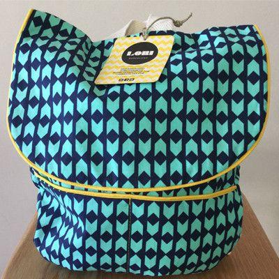 Lori Barcelona Blue and Green Chevron backpack - small