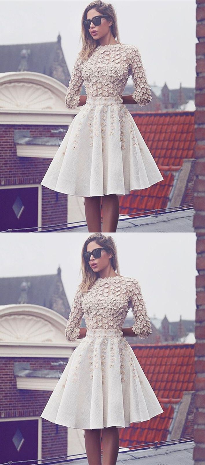 Elegant white 3/4 sleeves homecoming dresses, charming fashion dresses with appliqués, short prom dresses, semi formal dresses.