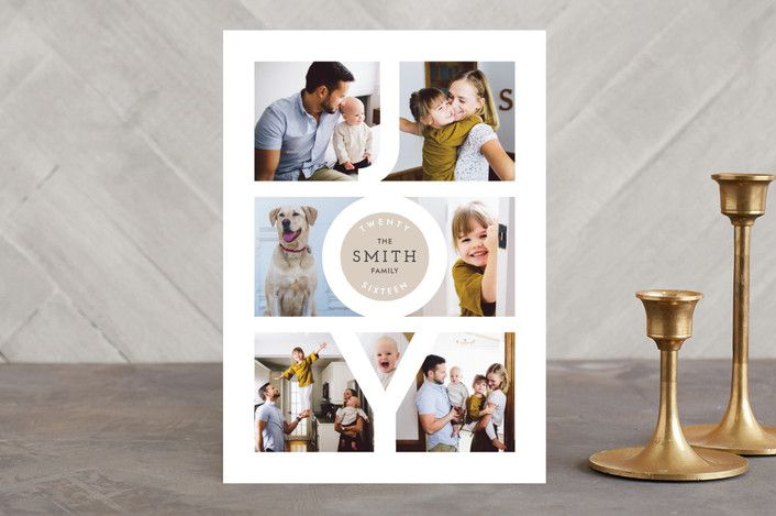 """""""Modern Family Joy"""" - Photo Collage Holiday Photo Cards in Taupe by Playground Prints."""